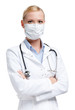 Serious lady doctor in respirator, isolated on white