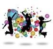 Springende Leute mit Ballons