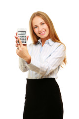 Young Business woman with a calculator