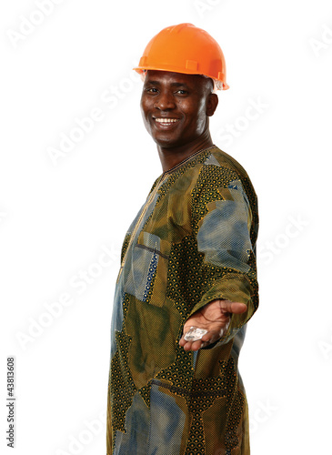 African man holding a diamond, isolated on white background