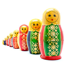 Collection of Antique Russian Dolls