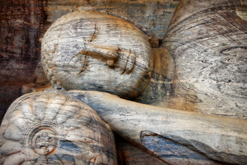 greatest landmarks in Sri lanka, Polonnaruva. sleeping buddha