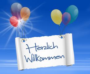Schild mit Luftballons - herzlich willkommen