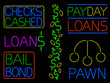 Various neon cash signs