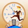 Conceptual image - Business man run on building in rush hours