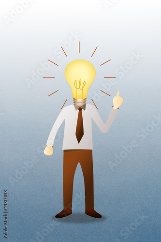 Business man with head  idea lightbulb