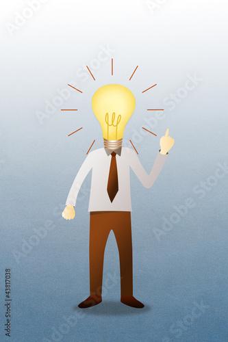 Business man with head  idea lightbulb