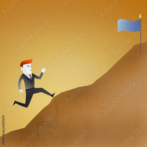 Conceptual image - Business man go running up mountain represent