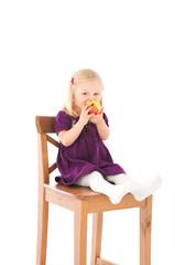 Girl and apple