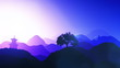 Magical Oriental Sunset over Mountains  Leaves on hillside plant