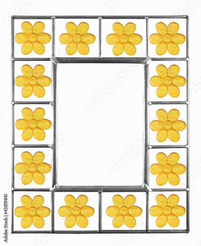 Yello Daisy Picture Frame isolated on white background