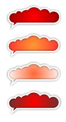 speech bubble STICKER red SET