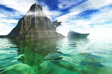 On the sea, natural backgrounds. 3D rendered image