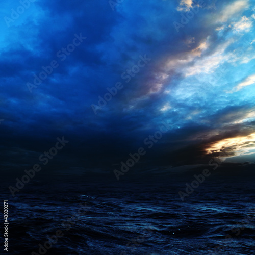 Fridge magnet Night storm on the sea. Abstract natural backgrounds