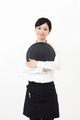 a portrait of asian waitress on white background