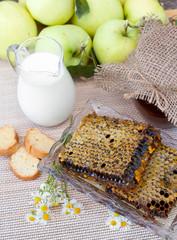 fresh honey combs, milk and fresh apples