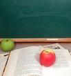 pommes de la connaissance, livres scolaires et tableau noir