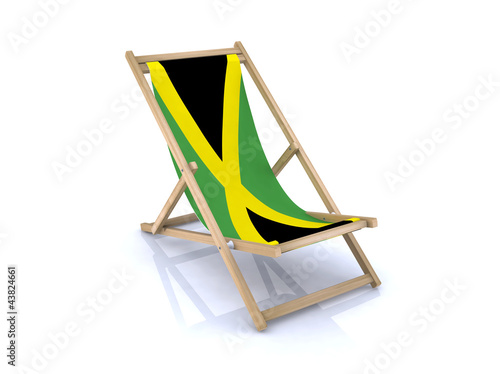 wood beach chair with jamaican flag