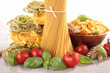 assortment of raw pasta and ingredient