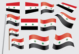 set of flags of Syria vector illustration