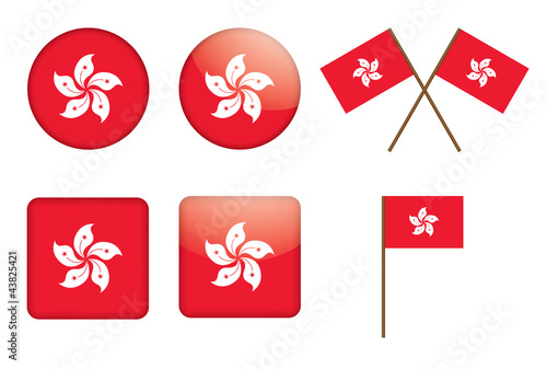 set of badges with flag of Hong Kong vector illustration