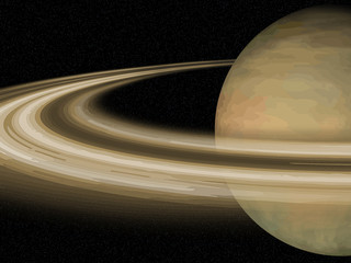 Solar System: Saturn over black cosmos background