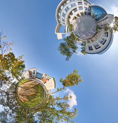 Little green planets 360 panoramic view