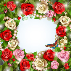 Beautiful background with roses, pearls, drops and butterfly