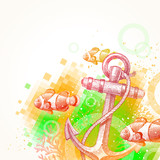 Hand drawn anchor and tropical fishes - vector illustration