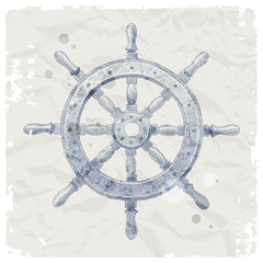 Hand drawn vector illustration - ship steering wheel