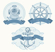 Nautical vector emblems with hand drawn elements