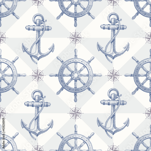 Wall mural Seamless nautical background with hand drawn elements