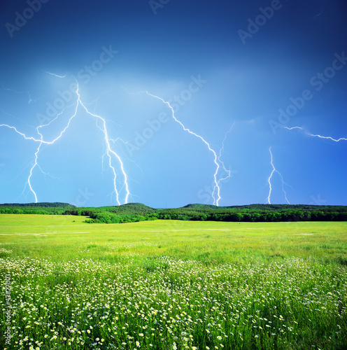 Lightning in meadow