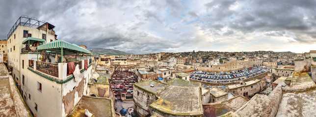 Tannery in Fes Morocco wide panorama