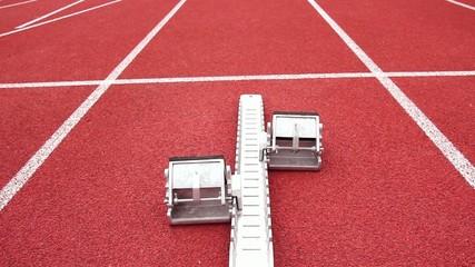 Start of sprinter in stadium