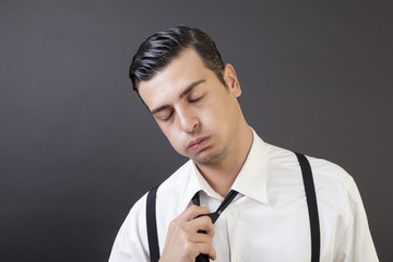 Young Businessman very tired and worried.