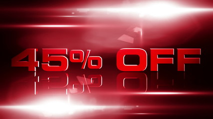 45 percent off discount animation