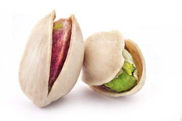 Pistachio nuts, fruits isolated on white background