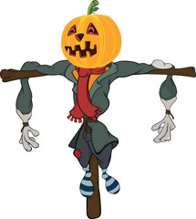 Scarecrow halloween pumpkin cartoon