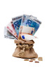 Geldsack mit Scheine und Münzen