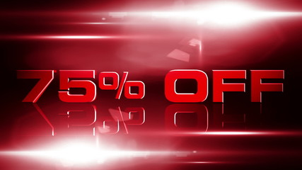 75 percent off discount animation