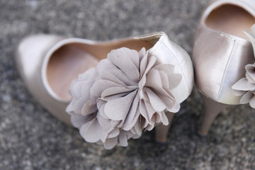 close-up crop of gorgeous wedding shoes