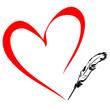 Pen draws the heart