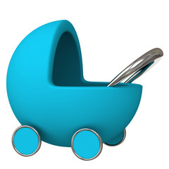 Blue baby carriage 3d