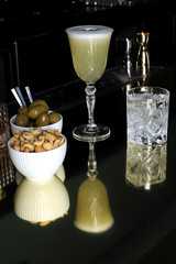 Cocktail and snacks