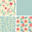Four floral seamless patterns in light teal and red colors