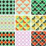 Seamless triangles and rhombus pattern collection poster