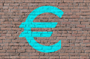 Euro on brick seamless wall