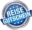 """Button Banner """"Reisegutschein"""" blau/silber"""