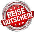 """Button Banner """"Reisegutschein"""" rot/silber"""